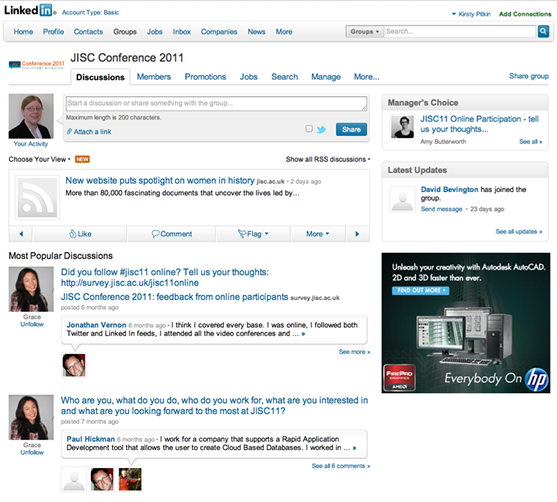 JISC11 LinkedIn Group Screenshot